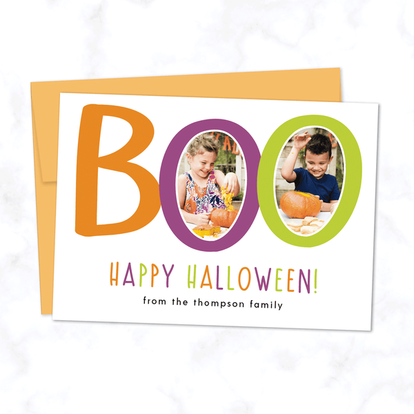 Boo! Custom Halloween Photo Card with Two Photos - with White Background and Orange Envelope
