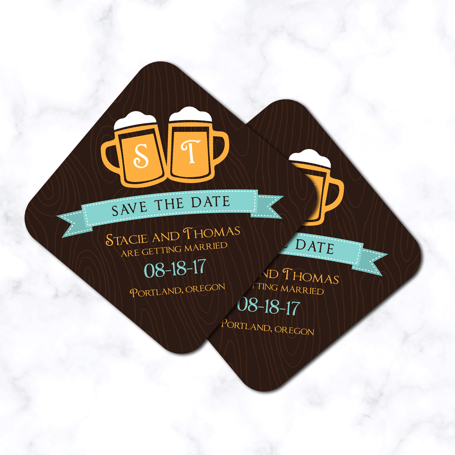 Beer Themed Save the Date Coasters - Unique Wedding Save the Date Coasters - 4x4 with Rounded Corners