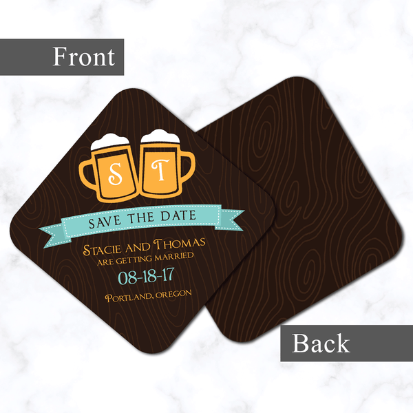 Beer Themed Save the Date Coasters - Front and Back View - Unique Wedding Save the Date Coasters - 4x4 with Rounded Corners