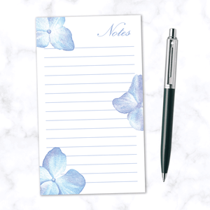 Lined Note Pad with 100 Pages with Hand Painting Blue Watercolor Flowers - Front View