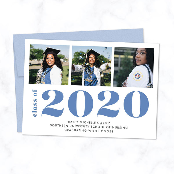 Bold Class of 2020 Graduation Announcement with 3 Photos and Custom Colors - Shown with blue typography and envelope