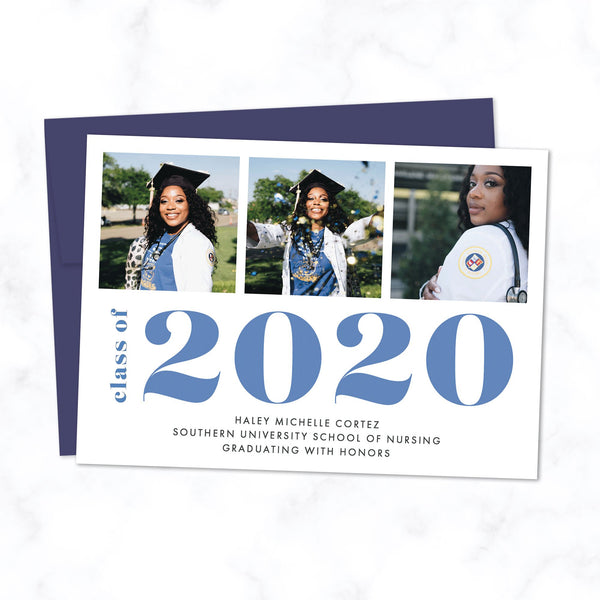 Bold Class of 2020 Graduation Announcement with 3 Photos and Custom Colors - Shown with blue typography and dark blue envelope