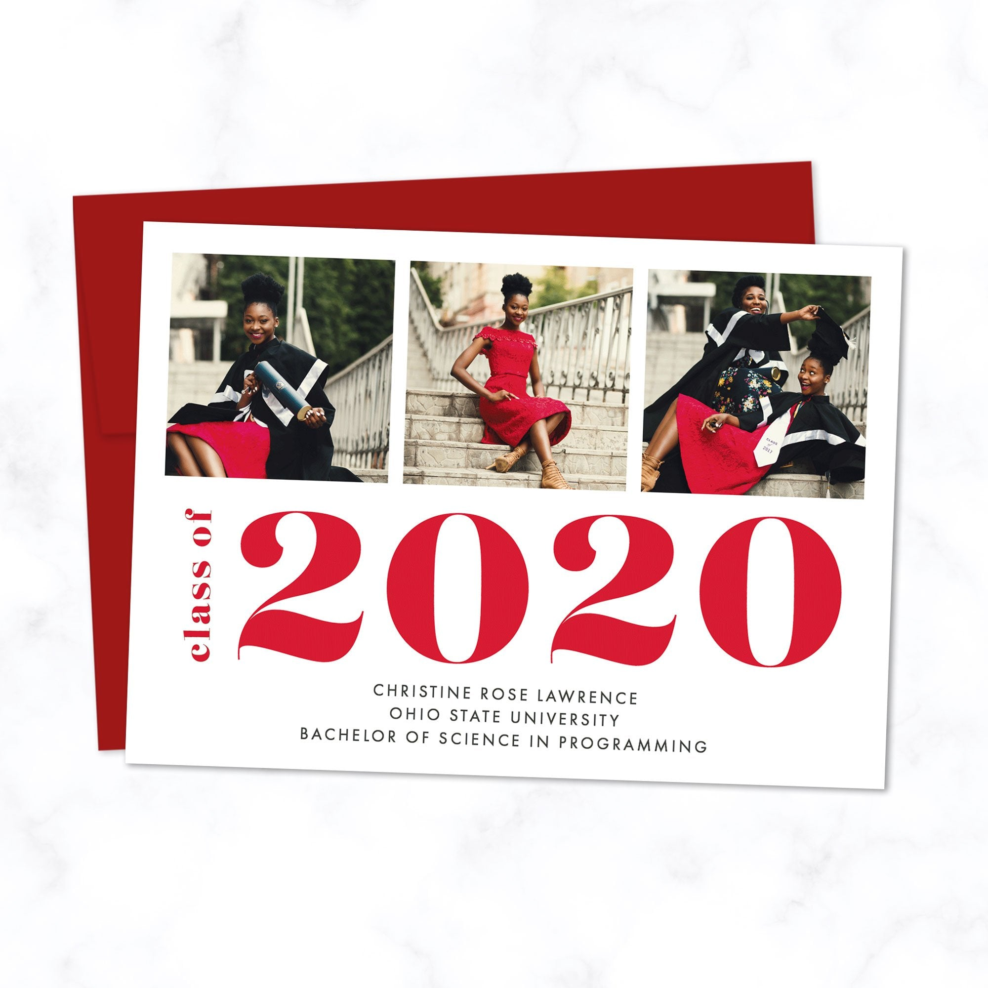Bold Class of 2020 Graduation Announcement with 3 Photos and Custom Colors - Shown with red typography and envelope