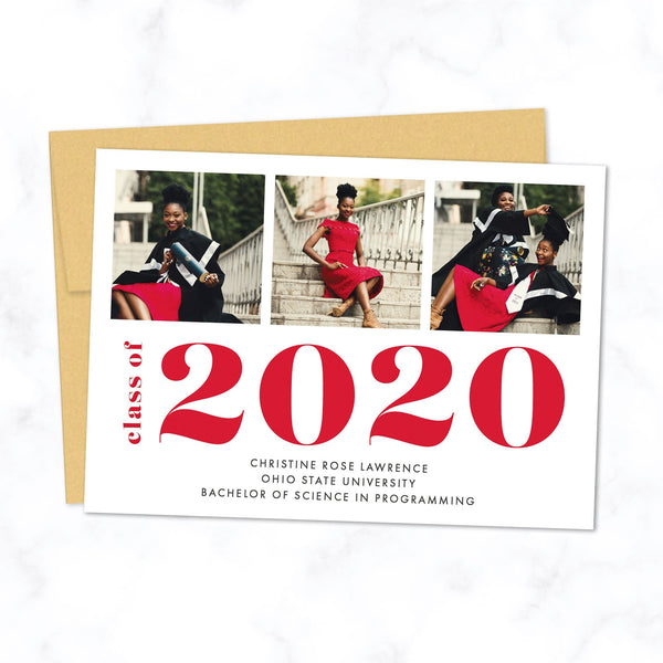 Bold Grad Class of 2020 Graduation Announcement with 3 Photos and Custom Colors - Shown with red typography and gold envelope