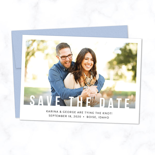 Minimal Save the Date Card with Photo and Modern Bold Typography shown with Azure Blue Envelope