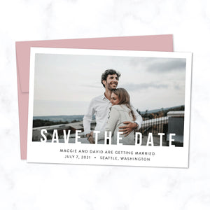 Minimal Save the Date Card with Photo and Modern Bold Typography shown with Cipria Pink Envelope