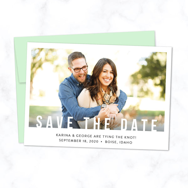 Minimal Save the Date Card with Photo and Modern Bold Typography shown with Pistachio Green Envelope