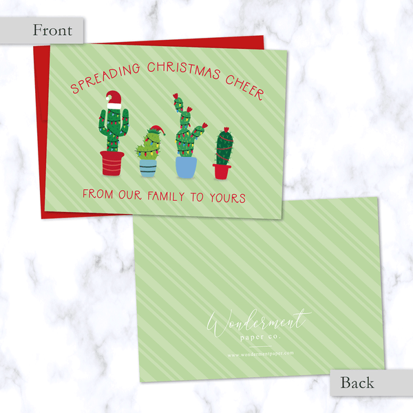 Christmas Cactus Family Greeting Card with Four Festive Cactus Plants in Christmas Lights - Front and Back View - Red Envelope Included