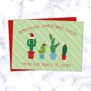 Christmas Cactus Family Greeting Card with Four Festive Cactus Plants in Christmas Lights - Red Envelope Included