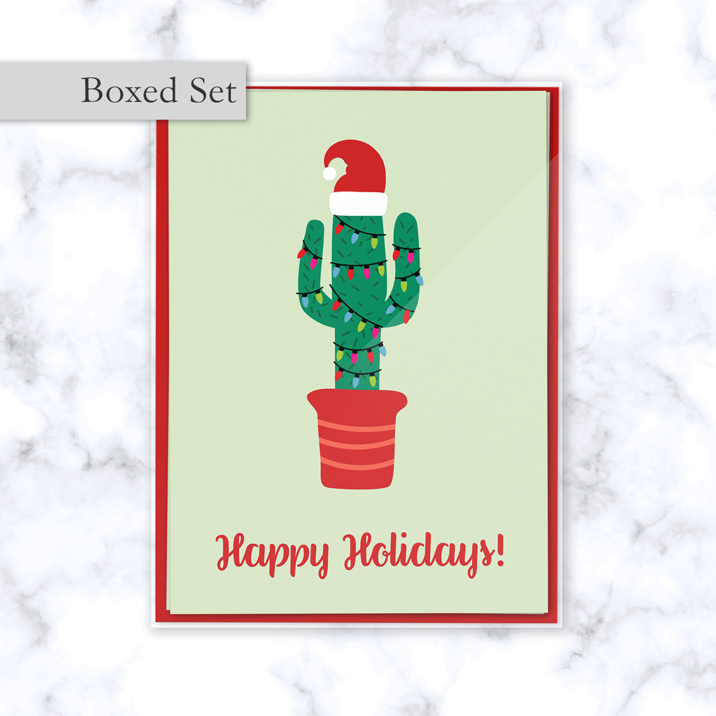Christmas Cactus Boxed Greeting Card Set with Festive Cactus in Santa Hat and Christmas Lights with Happy Holidays Greeting - 4 Cards & Red Envelopes Included