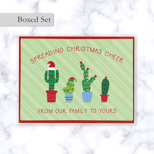 Christmas Cactus Family Boxed Greeting Card Set with Four Festive Cactus Plants in Christmas Lights - 4 Cards and 4 Reds Envelope Included