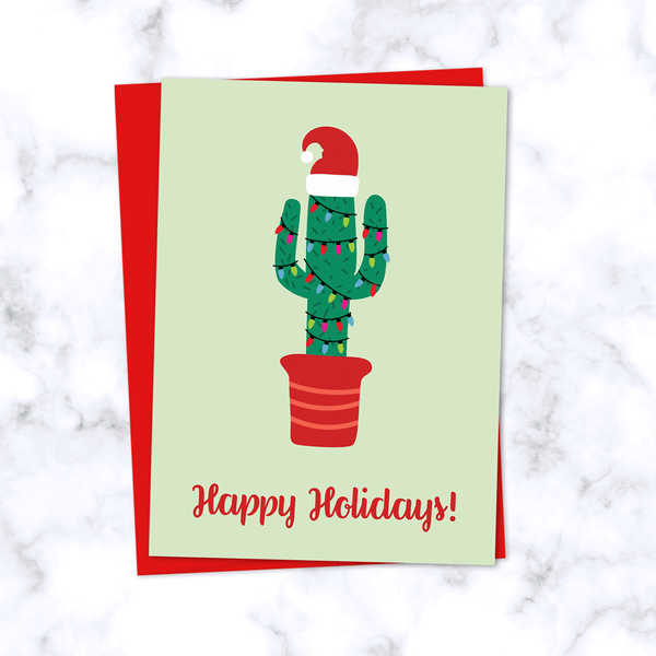 Christmas Cactus Greeting Card with Festive Cactus in Santa Hat and Christmas Lights with Happy Holidays Greeting - Red Envelope Included