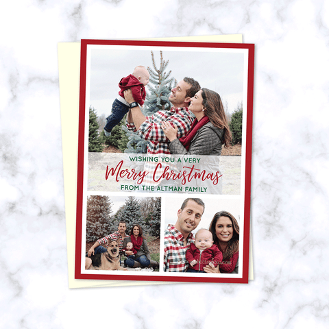 Christmas Family Photo Cards with 3 Family Photos in Modern Style Grid with Merry Christmas Script - Envelopes Included