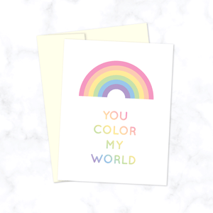 You Color My World Greeting Card with Pastel Rainbow for Valentine's Day, Anniversary, or Birthday - Size A2 Blank Inside Includes Cream Envelope