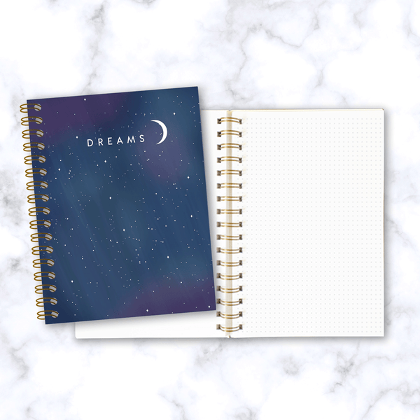 Dreams-Spiral-Notebook-Starry-Night-Design_Front-and-Inside-Pages-Dot-Grid