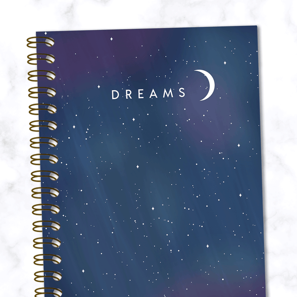 Dreams-Spiral-Notebook-Starry-Night-Sky-Design-Front-Cover Close Up View