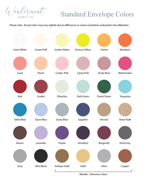 Standard envelope color swatches available from Wonderment Paper Co