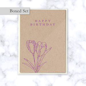 Minimal Floral Happy Birthday Boxed Card Set with Purple Tulips on Kraft Paper - Four Cards & Cream Envelopes Included