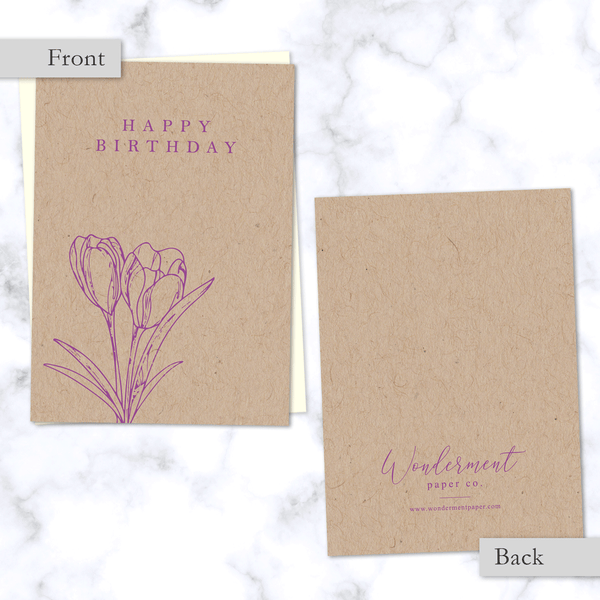 Minimal Floral Happy Birthday Card - Front and Back View - with Purple Tulips on Kraft Paper - Cream Envelope Included