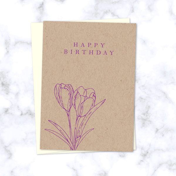 Minimal Floral Happy Birthday Card with Purple Tulips on Kraft Paper - Cream Envelope Included