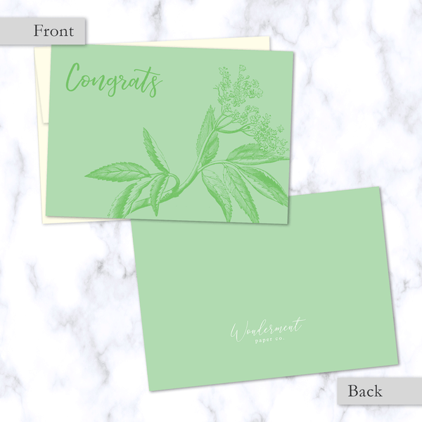 Congrats Green Floral Illustrated Greeting Card - Front and Back Image