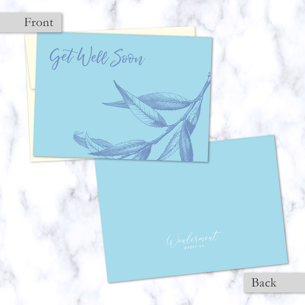 Get Well Soon Floral Illustrated Greeting Card - Front and Back Image