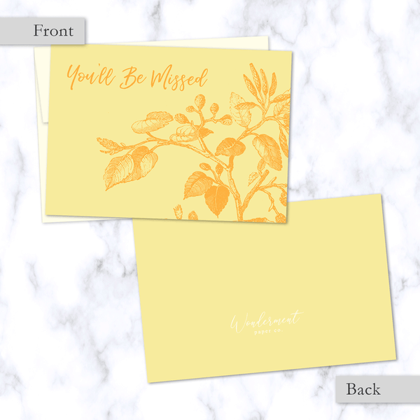 You'll Be Missed Yellow Floral Illustrated Greeting Card - Front and Back Image