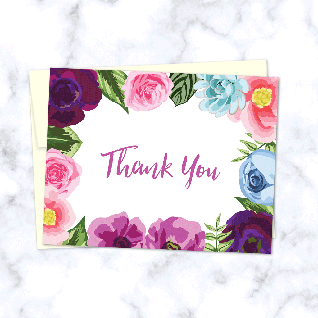 floral border thank you greeting card  wonderment paper co