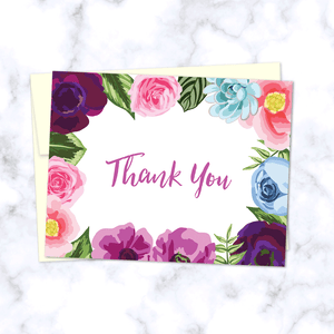 Floral Border Thank You Card_Pink Purple and Blue Flowers and Leaves Border_Front of Card with Cream Envelope