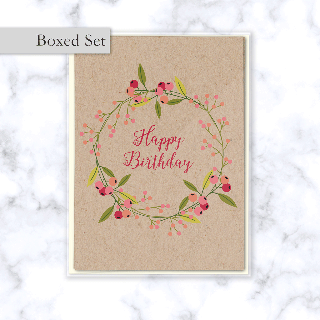 Floral Olive Branch Wreath Happy Birthday Boxed Card Set on Kraft Paper - 4 Cards & Cream Envelopes Included