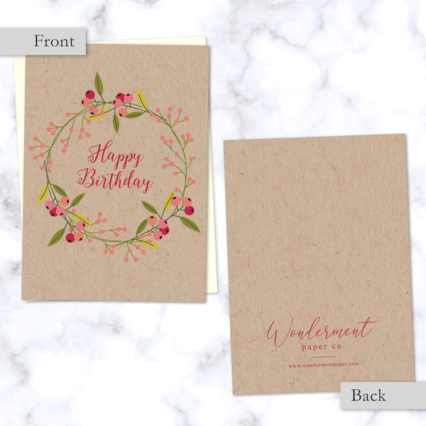 Floral Olive Branch Wreath Happy Birthday Card - Front and Back View on Kraft Paper - Cream Envelope Included