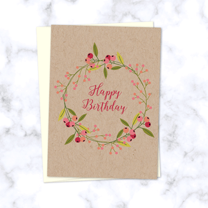 Floral Olive Branch Wreath Happy Birthday Card on Kraft Paper - Cream Envelope Included