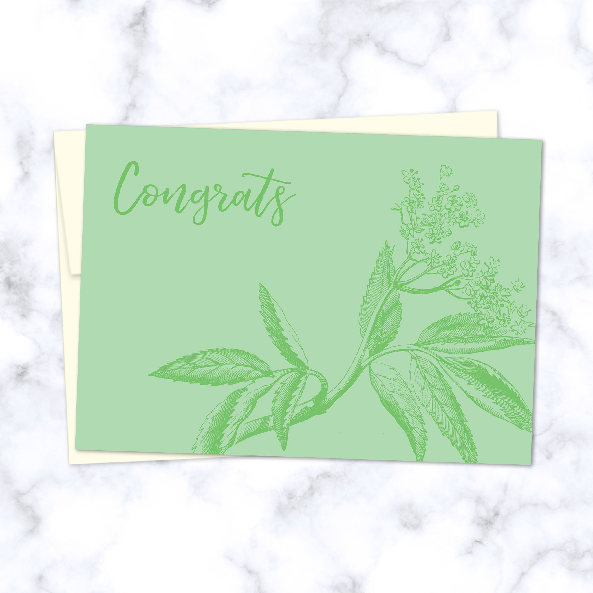 Congrats Green Floral Illustrated Greeting Card - Front Image