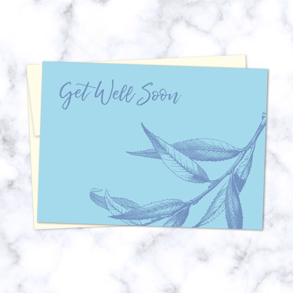 Get Well Soon Floral Illustrated Greeting Card - Front Image
