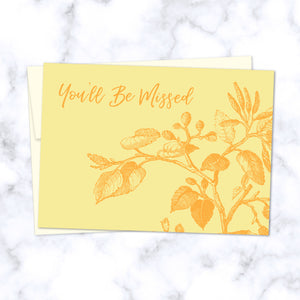 You'll Be Missed Yellow Floral Illustrated Greeting Card - Front Image