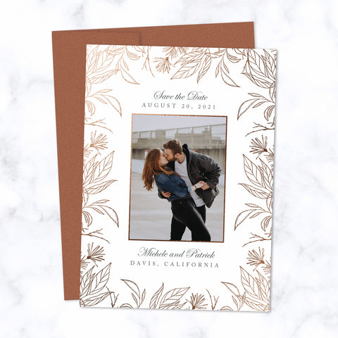 Copper Foil Botanical Frame Save the Date Card Personalized with Photo and Details shown with matching Copper envelope