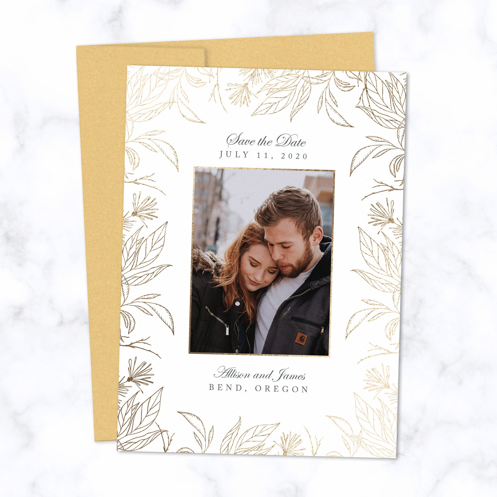 Gold Foil Botanical Frame Save the Date Card Personalized with Photo and Details shown with matching Gold envelope