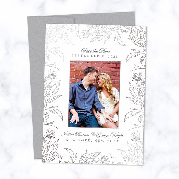 Silver Foil Botanical Frame Save the Date Card Personalized with Photo and Details shown with matching Silver envelope