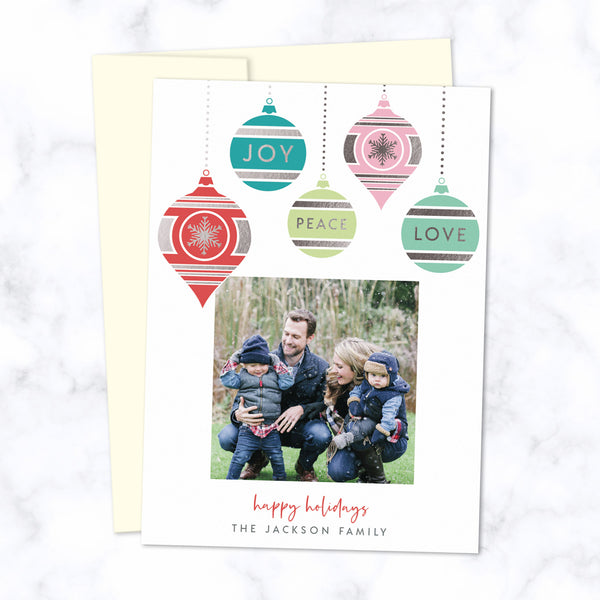 Christmas Photo Card with Silver Foil Pressed Colorful Dangling Ornaments - Custom Printed Card with One Square Photo, Family Name, with Cream Envelopes