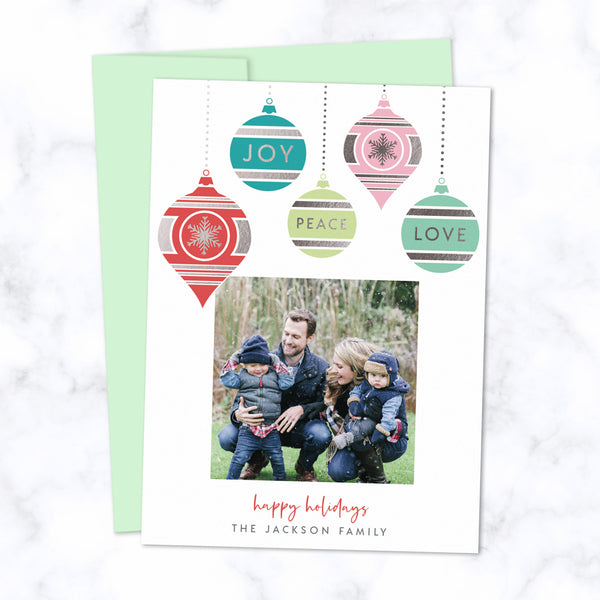Christmas Photo Card with Silver Foil Pressed Colorful Dangling Ornaments - Custom Printed Card with One Square Photo, Family Name, with Mint Green Envelopes