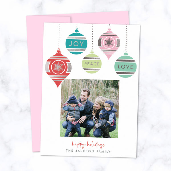 Christmas Photo Card with Silver Foil Pressed Colorful Dangling Ornaments - Custom Printed Card with One Square Photo, Family Name, with Pink Envelopes