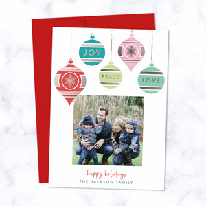 Christmas Photo Card with Silver Foil Pressed Colorful Dangling Ornaments - Custom Printed Card with One Square Photo, Family Name, with Red Envelopes