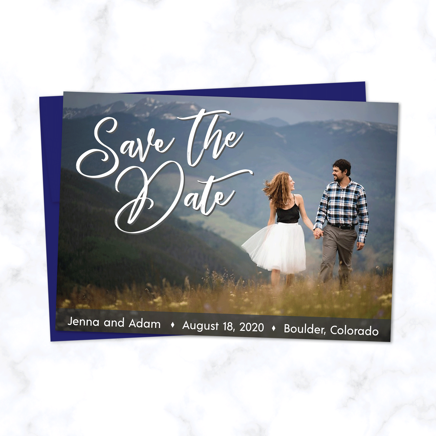 Full Photo Wedding Save the Date Card with Sapphire / Navy Blue Envelopes - Landscape Orientation with Full Color Photograph