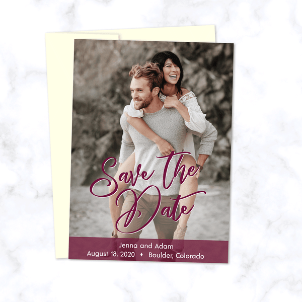 Full Photo Wedding Save the Date Card with Burgundy Highlight Color and Cream Envelopes - Portrait Orientation with Full Color Photograph
