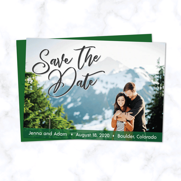 Full Photo Wedding Save the Date Card with Forest Green Highlight Color and Matching Green Envelopes - Landscape Orientation with Full Color Photograph