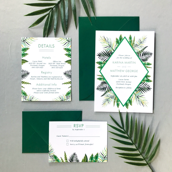 Full Wedding Invitation Set with RSVP and Details Card - The Callisto Suite - Tropical Palm Leaves Wedding Invitation Suite