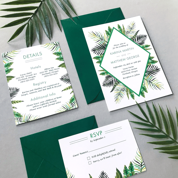 Invitation with Details and RSVP Card - The Callisto Suite - Tropical Palm Leaves Wedding Invitation Suite