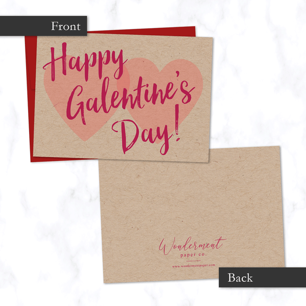 "Galentine's Day Card - Front and Back View - Two Hearts and Modern Cursive Script with phrase ""Happy Galentine's Day"" on Front - Valentine's Day Card for Friend"