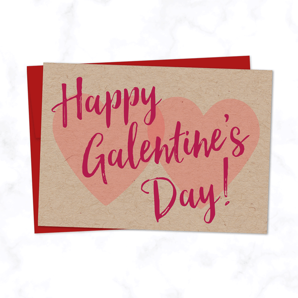 "Galentine's Day Card - Two Hearts and Modern Cursive Script with phrase ""Happy Galentine's Day"" - Valentine's Day Card for Friend - Red Envelope Included"