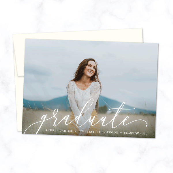 Graduate Announcement Photo Card with Script Font and Full Photo Background, Shown with Cream Envelope